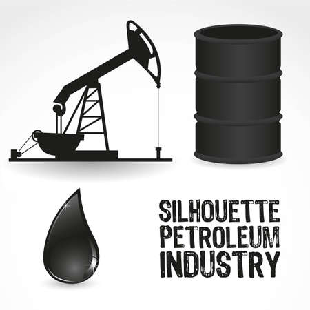 oilfield: icons in the oil industry, contains gallon, pump and drop of oil Illustration