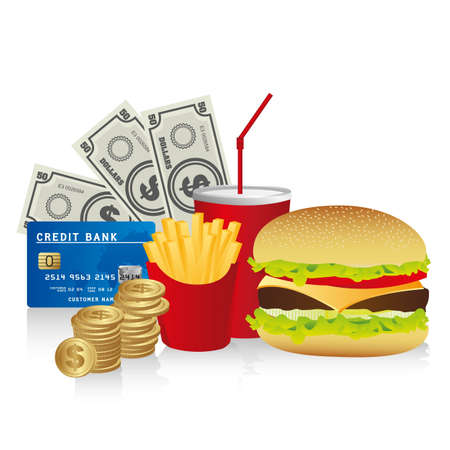 fast food combo with a burguer french fries, soda, coins, credit card and coins Vector