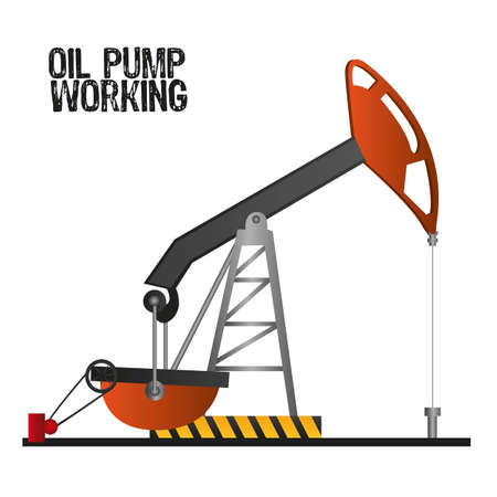 yacimiento petrolero: bomba de aceite de trabajo, aislado en el fondo blanco