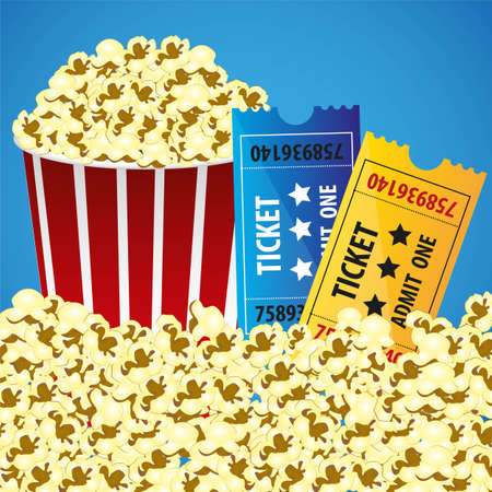 Pop corn with tickets, cine background, ilustracin vectorial Stock Vector - 13650226