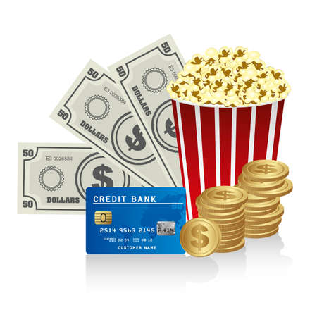 Pop corn with credit card, bills  and coins Vector