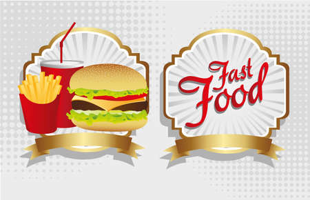 fast food combo with a burger french fries and soda Vector