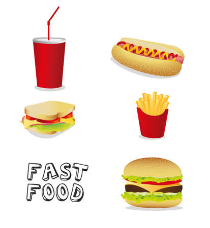 fast food icons isolate on black background Stock Vector - 13648644