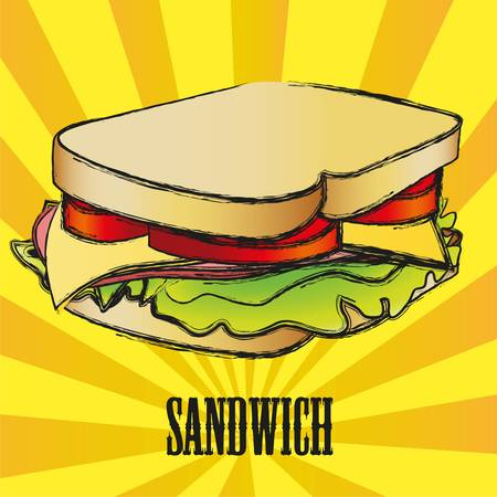 grunge Sandwich over yellow and orange stripes Vector