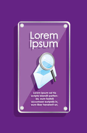 glass frame on purple background with icons Vector