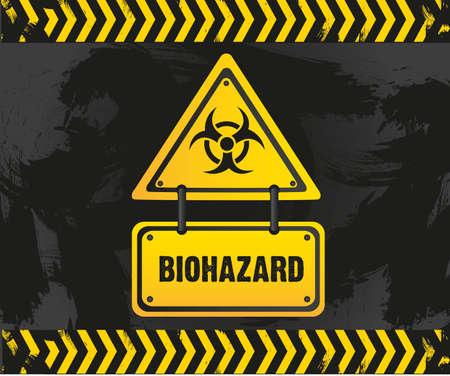 biological waste: se�al de peligro biol�gico en el fondo del grunge