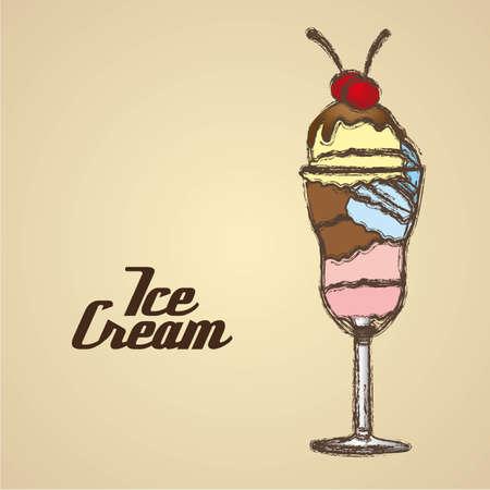 grunge edged ice cream on a cream background Stock Vector - 13650270