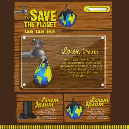 ecological website design on a wooden background Vector
