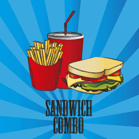fast food combo with a sandwich, french fries and soda Vector
