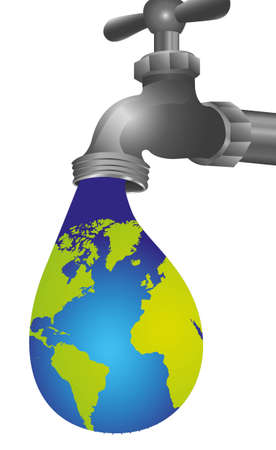 conceptual illustration of leaking tap in the shape of Earth Vector