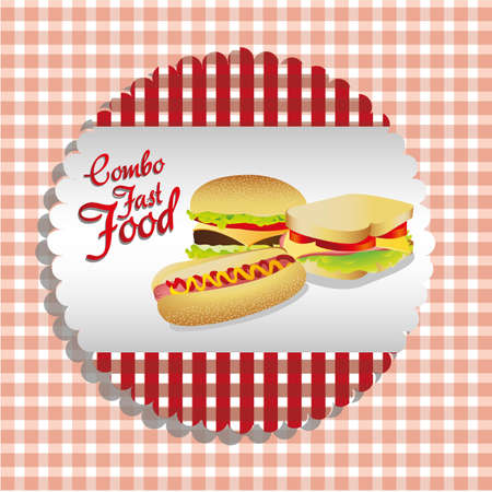 fast food combo label with a hamburger, hot dog and sandwich Stock Vector - 13650165