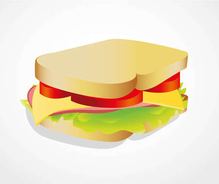 cheese bread: illustration of a sandwich isolated on white background