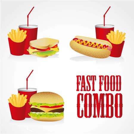 perro caliente: iconos de combos de comida r�pida, contiene perro caliente, hamburguesa y s�ndwich con papas fritas y refrescos