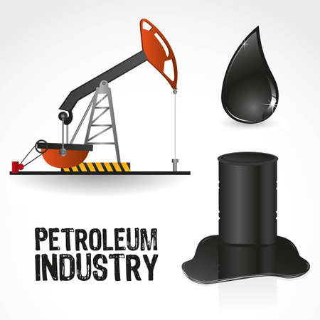 derrick: icons in the oil industry, contains gallon, pump and drop of oil Illustration