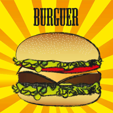 american cuisine: illustration of a hamburger with a grunge edge, on a background of lines
