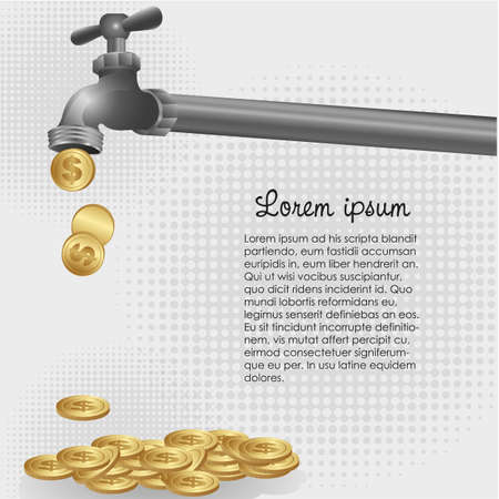 conceptual illustration of a dripping tap coins Vector