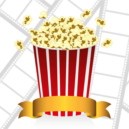 popcorn on movie tape background Vector