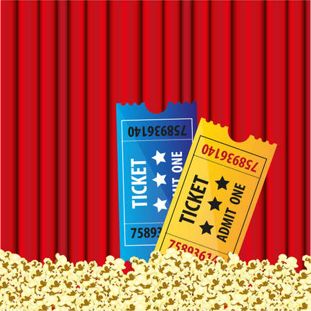 background Curtain movie with popcorn and movie tickets Vector