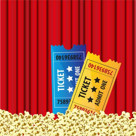 film rideau de fond avec des billets pop-corn et le film