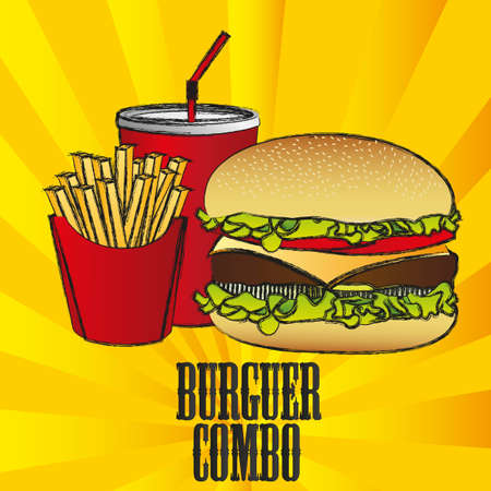hamburger combo with french fries and soda, on a stripes background Vector