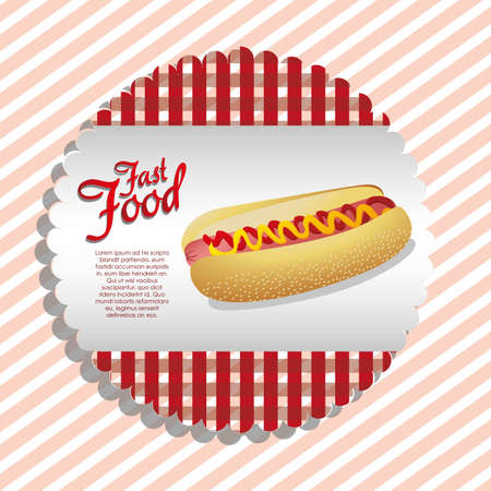 checkered label: label of a hot dog on a checkered background Illustration