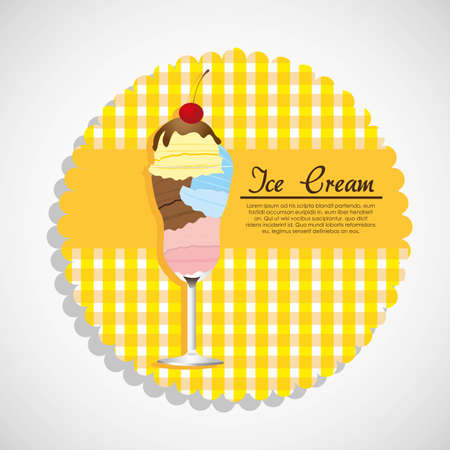 label ice cream in crystal glass Vector