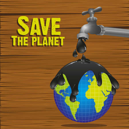 illustration of a faucet dripping oil on the planet earth  Vector