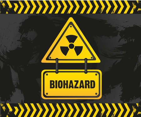 biohazard sign on grunge background Vector