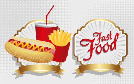combo: hot dog combo with french fries and soda, on a label Illustration