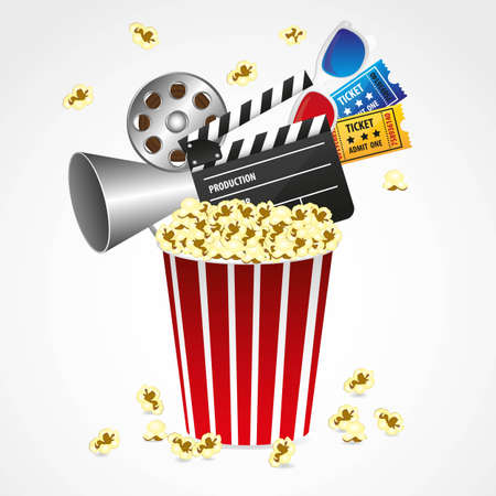 entries: Conceptual popcorn with  entries, movies, 3d glasses