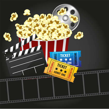 popcorn with  entries, movies, 3d glasses Vector