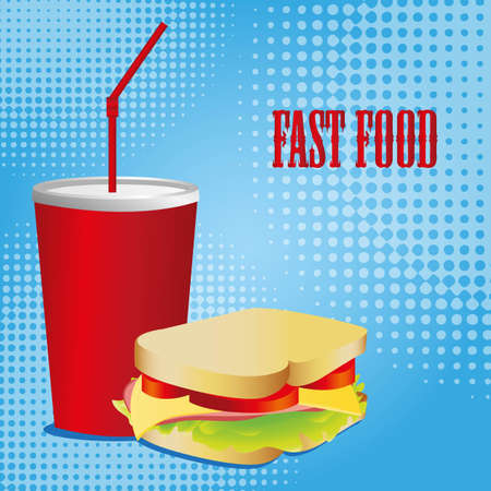Combo of a Sandwich and a soda Vector