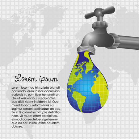 꼭지: 떨어지는 수도꼭지 지구의 개념 설명 일러스트