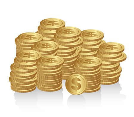 stack of cash: monedas apiladas aisladas sobre fondo blanco