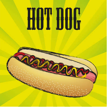 Hot dog, on a green lines bakcground Vector