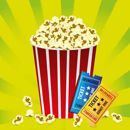 tickets: Illustration of popcorn with movie tickets on a green background with stripes