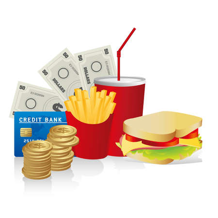 fast food combo with a sandwich french fries, soda, coins, credit card and coins Vector