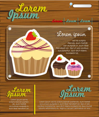 Web site design cupcakes on wood Stock Vector - 13650353