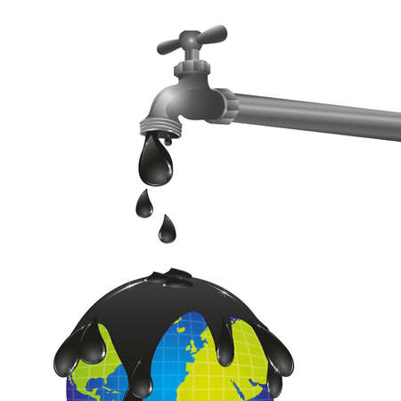 nb: conceptual design of a faucet dripping oil on the planet earth