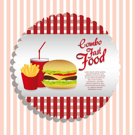american cuisine: fast food combo with a sandwich french fries and soda,  Illustration