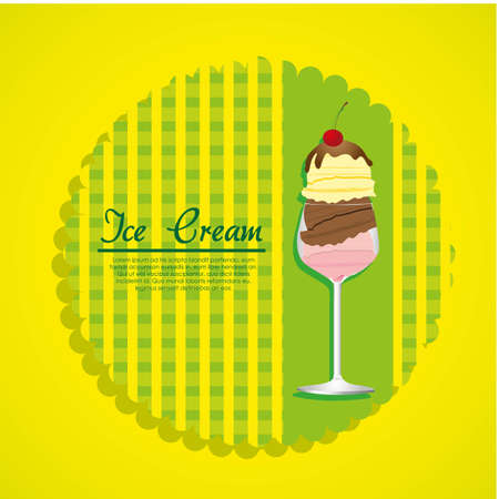 label ice cream on a green background Vector