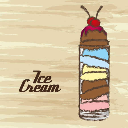 grunge edged ice cream on a cream background Vector