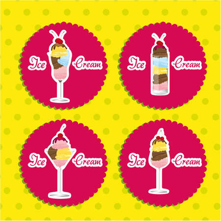 labels ice cream on a green background Vector