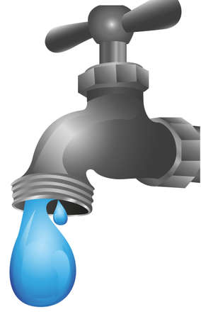 nb: dripping tap illustration isolated on white background
