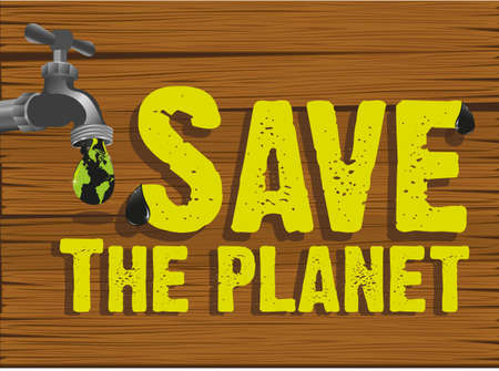 Save the planet design on wooden background Stock Vector - 13649950