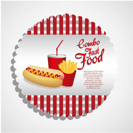 fast food combo with a hot dog,  french fries and soda Stock Vector - 13649839