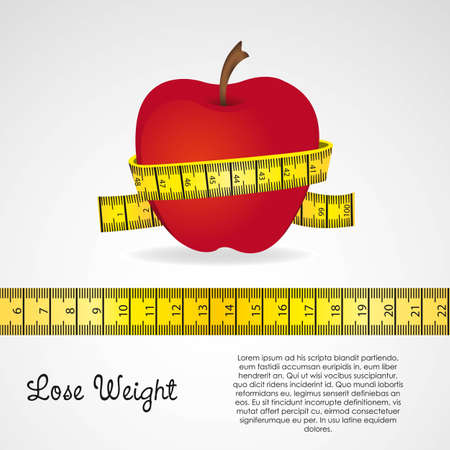 nutrition and health: meter around the apple over gray background. vector