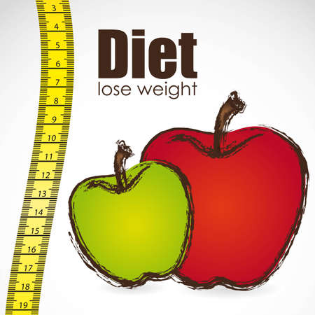 weight control: tape measure with apple, weight control, vector illustration