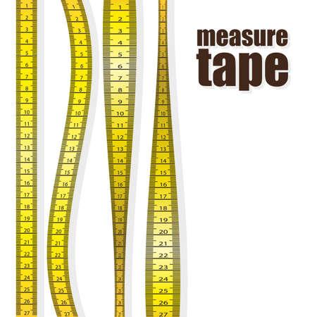 Medir las cintas en diferentes posiciones aisladas sobre fondo blanco. ilustración vectorial