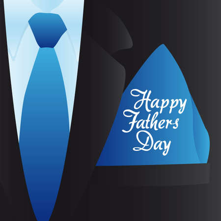 Happy Fathers Day, holiday card with formal suit and tie Vector